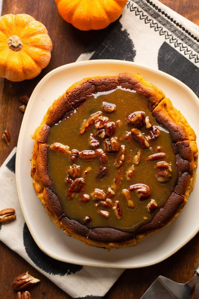 Burnt Pumpkin Cheesecake with a Pecan Praline Sauce