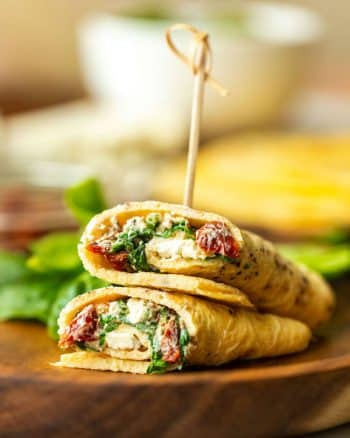 Low Carb Spinach Feta Egg Wraps on a plate