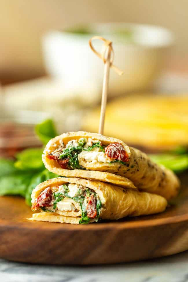 Low Carb Spinach Feta Egg Wraps