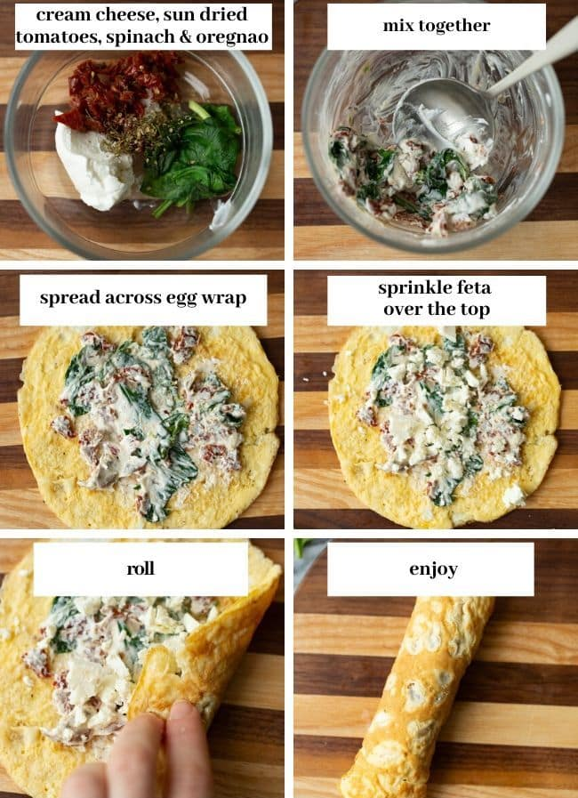 Low Carb Spinach Feta Egg Wraps collage