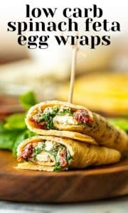 low carb spinach feta egg wrap pin graphic