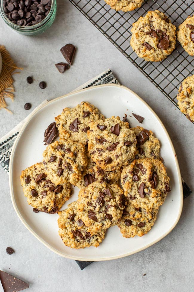 healthy oatmeal cookies on a plate