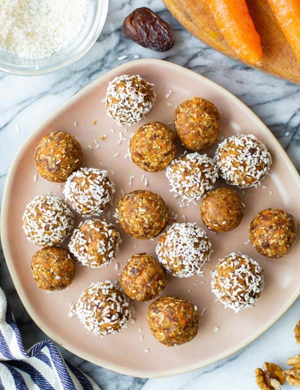 Carrot-Cake-Bliss-Balls on a pink plate