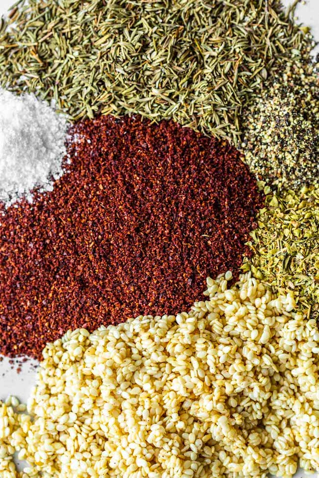 spices for the Homemade Za'atar Spice