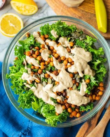Roasted Chickpea Kale Salad in a bowl