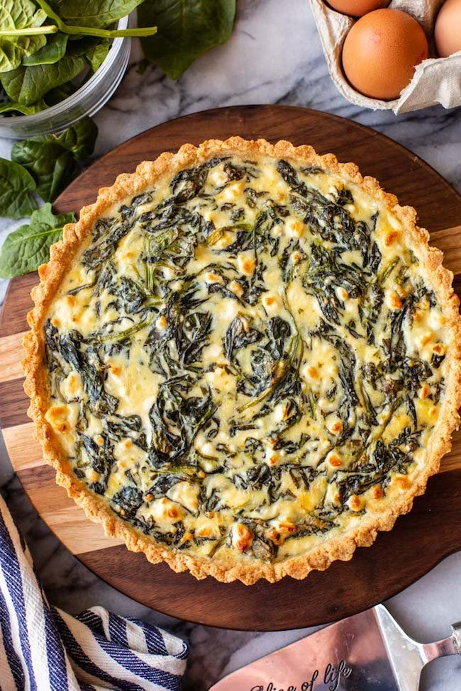 Spinach Feta Pie with an Almond Flour Crust unsliced