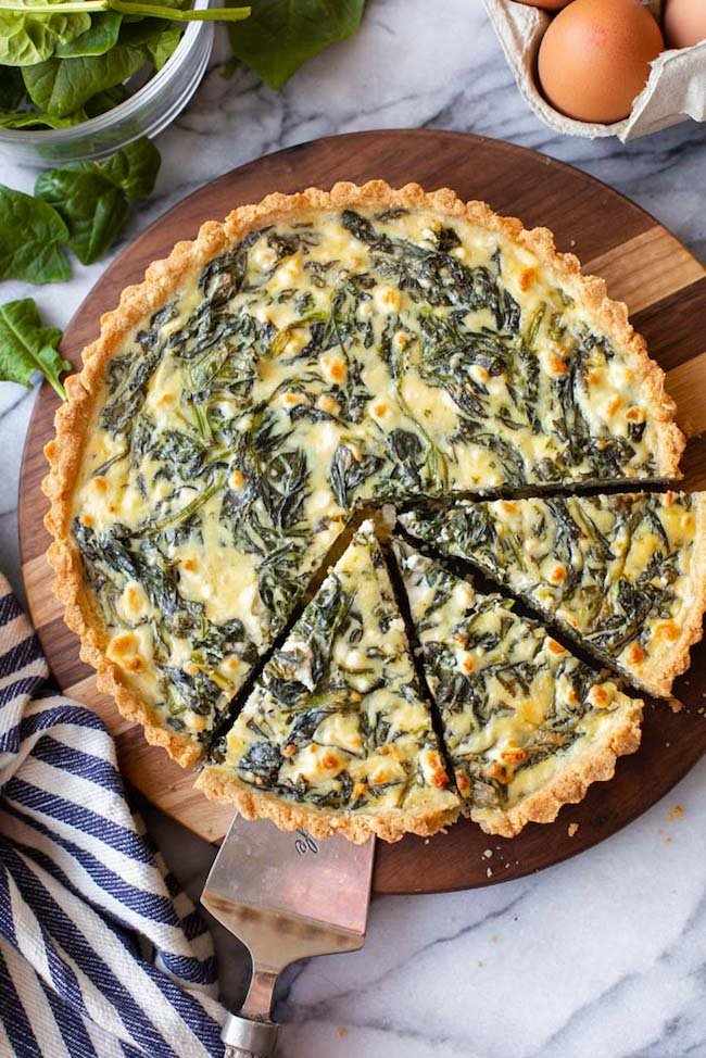 Spinach Feta Pie with an Almond Flour Crust sliced