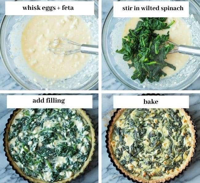 Spinach Feta Pie with an Almond Flour Crust - filling collage