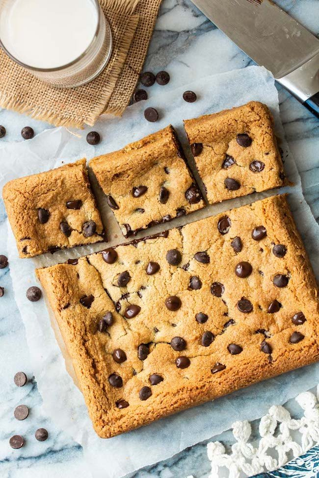 Almond Flour Cookie Bars with chocolate chips