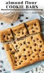 Almond flour cookie bars pin graphic