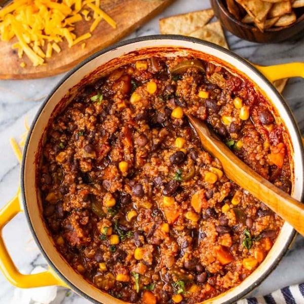 Black Bean Quinoa Veggie Chili in a yellow cooking pot