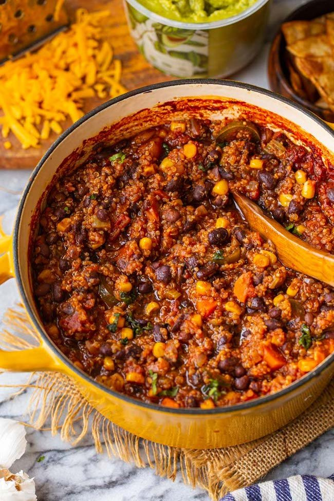 vegan chili in yellow pot