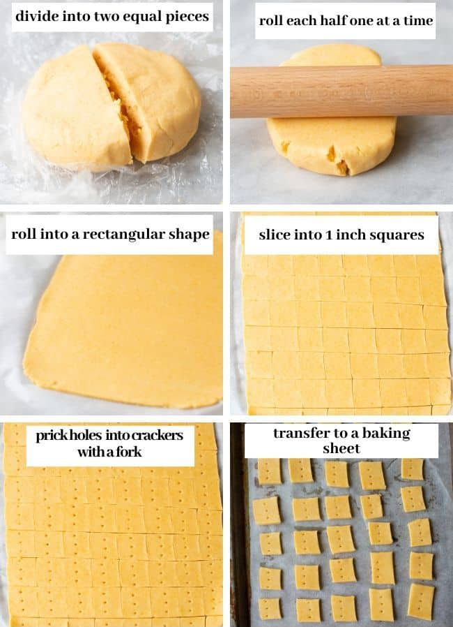 Cheesy Gluten Free Crackers dough collage