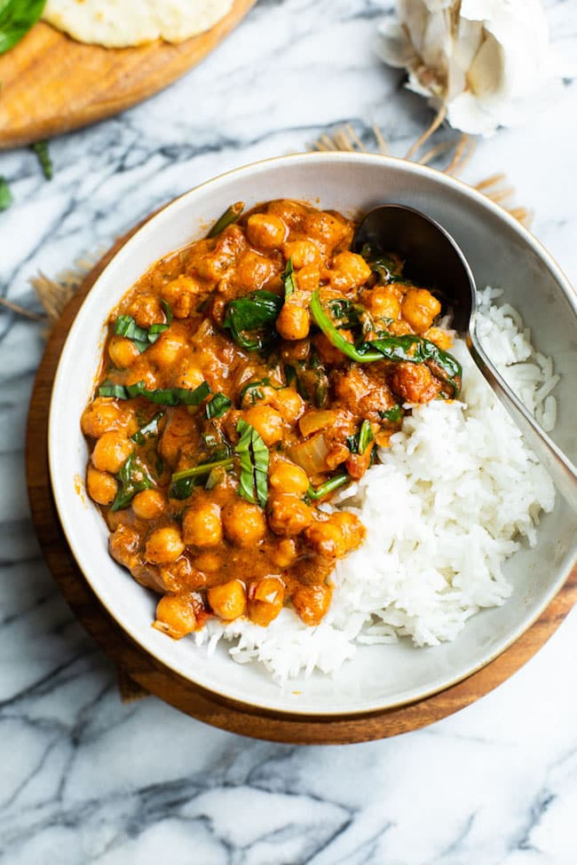 bowl of Tomato Basil Coconut Chickpea Curry