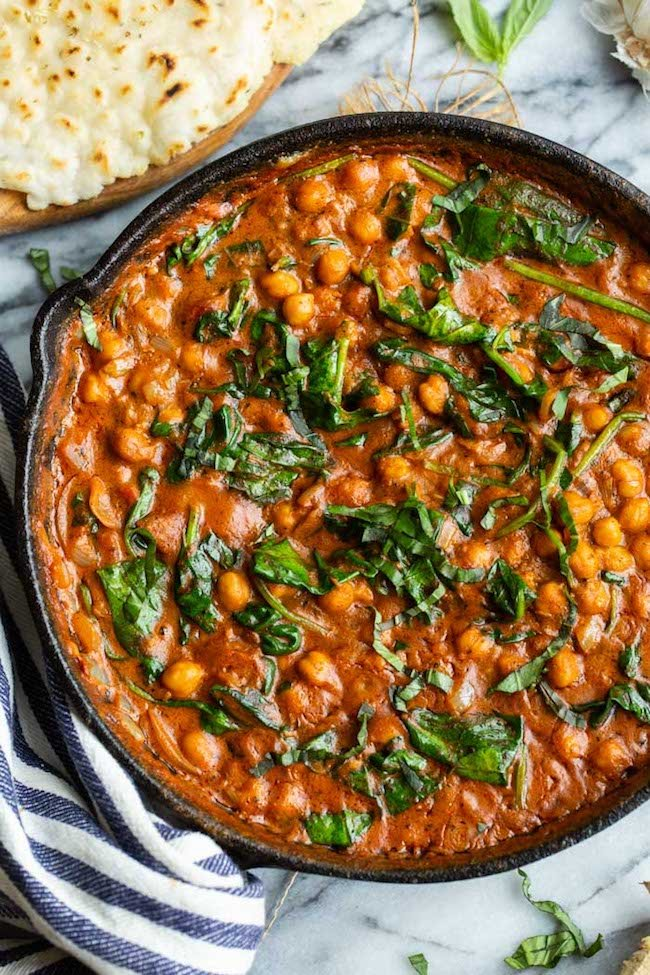 up close Tomato Basil Coconut Chickpea Curry