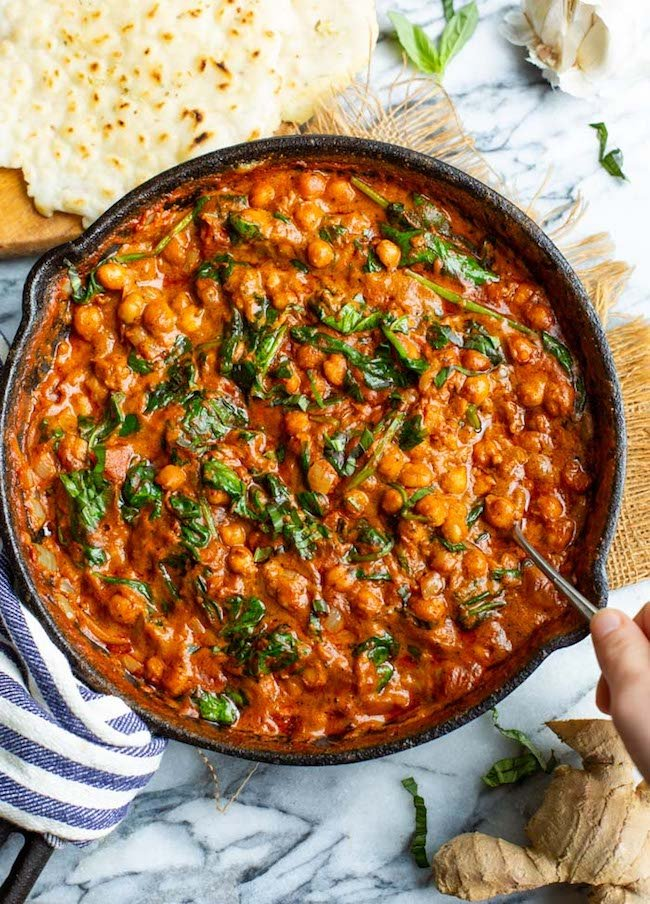 Tomato Basil Coconut Chickpea Curry