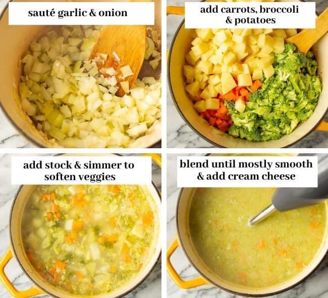 broccoli potato soup collage