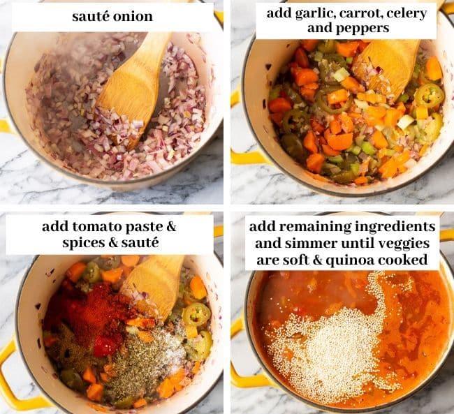 veggie chili collage