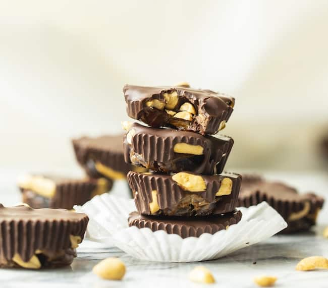 chocolate cups filled with peanuts