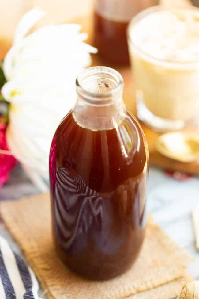 chai concentrate in a bottle