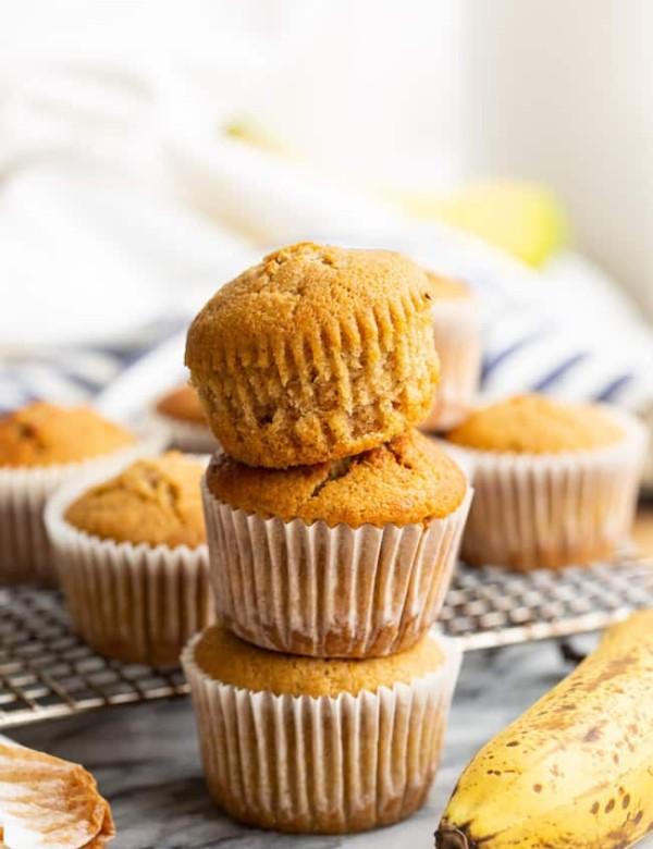 three gluten free banana muffins stacked