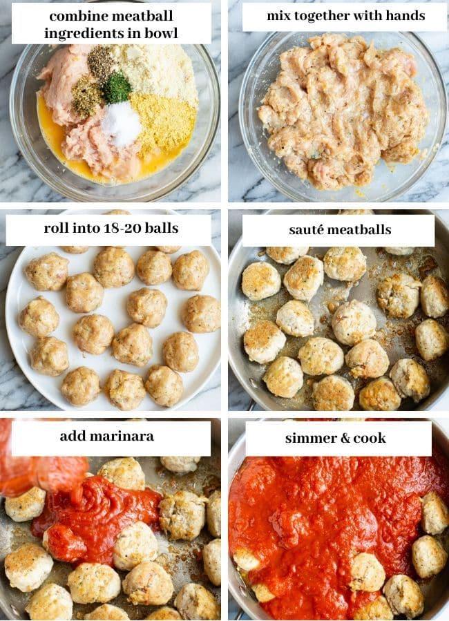 chicken meatballs collage
