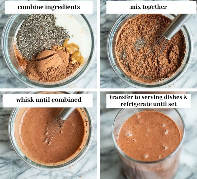 Chocolate Peanut Butter Chia Pudding collage