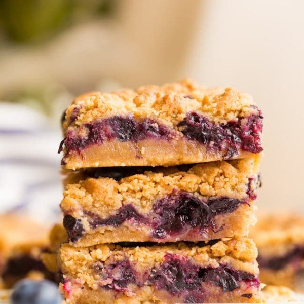Gluten Free Blueberry Crumb Bars stacked