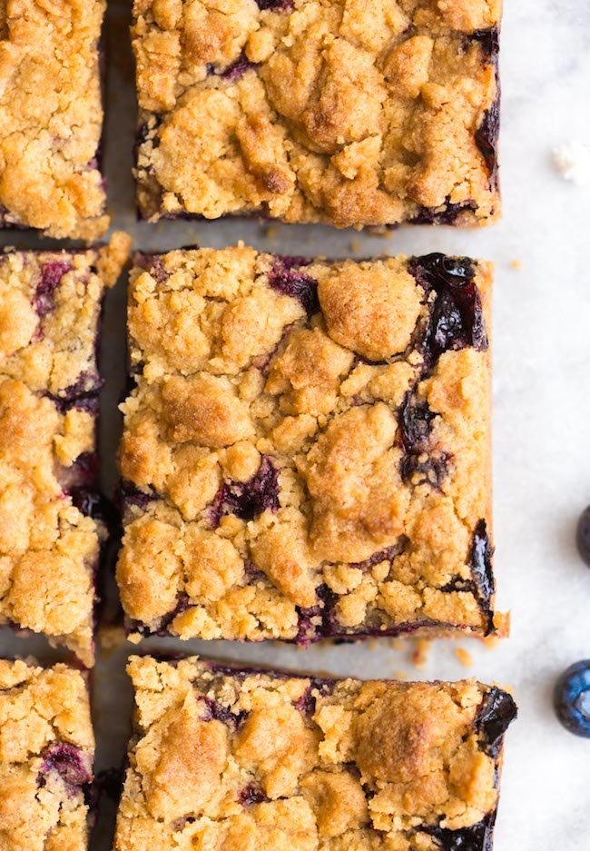 Gluten Free Blueberry Crumb Bars squares on a piece of baking paper