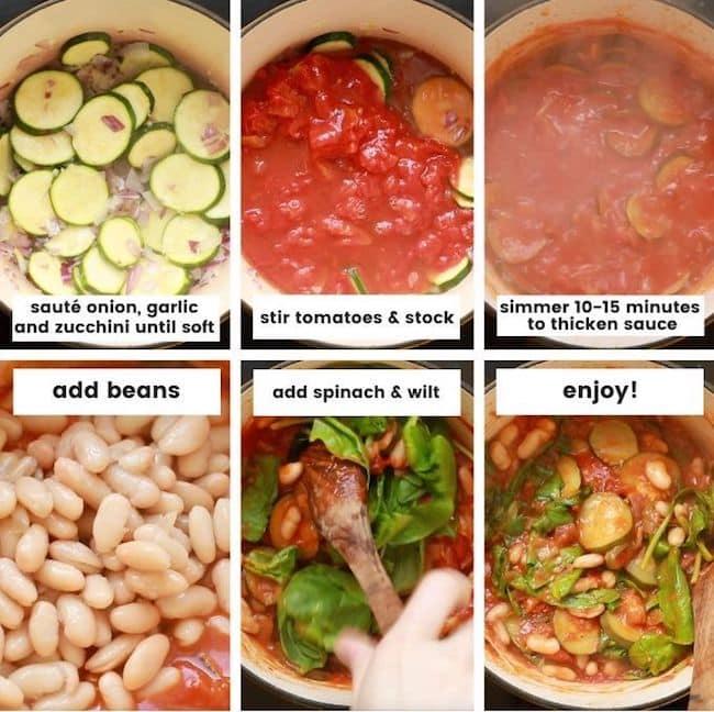 Zucchini and Cannellini Tomato Stew collage