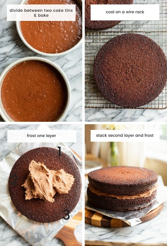 gluten free chocolate cake collage 2