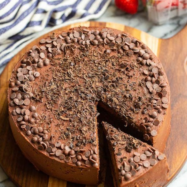 gluten free chocolate cake with a slice cut