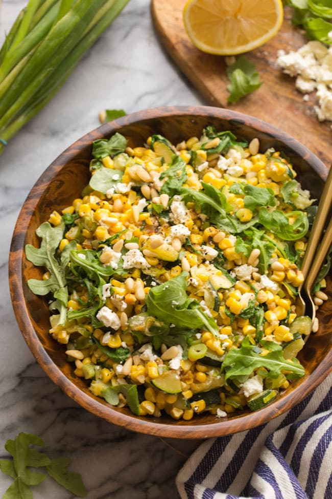 Sautéed Corn & Courgette Salad in a wooden bowl