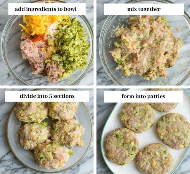 Broccoli Cheddar Chicken Burgers collage