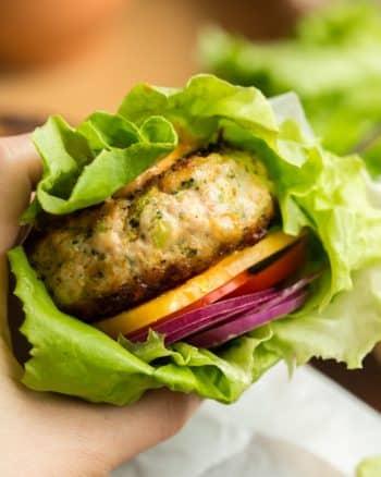 Broccoli Cheddar Chicken Burgers in a lettuce wrap