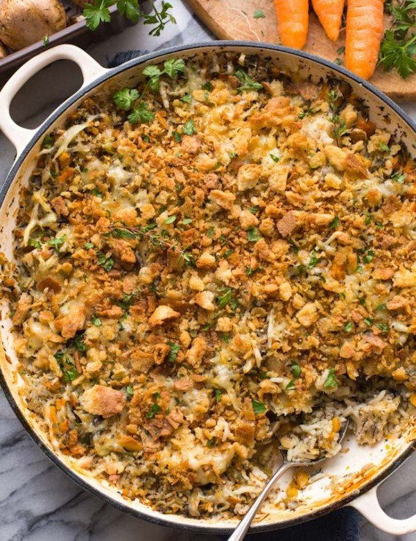 chicken & wild rice casserole topped with parsley