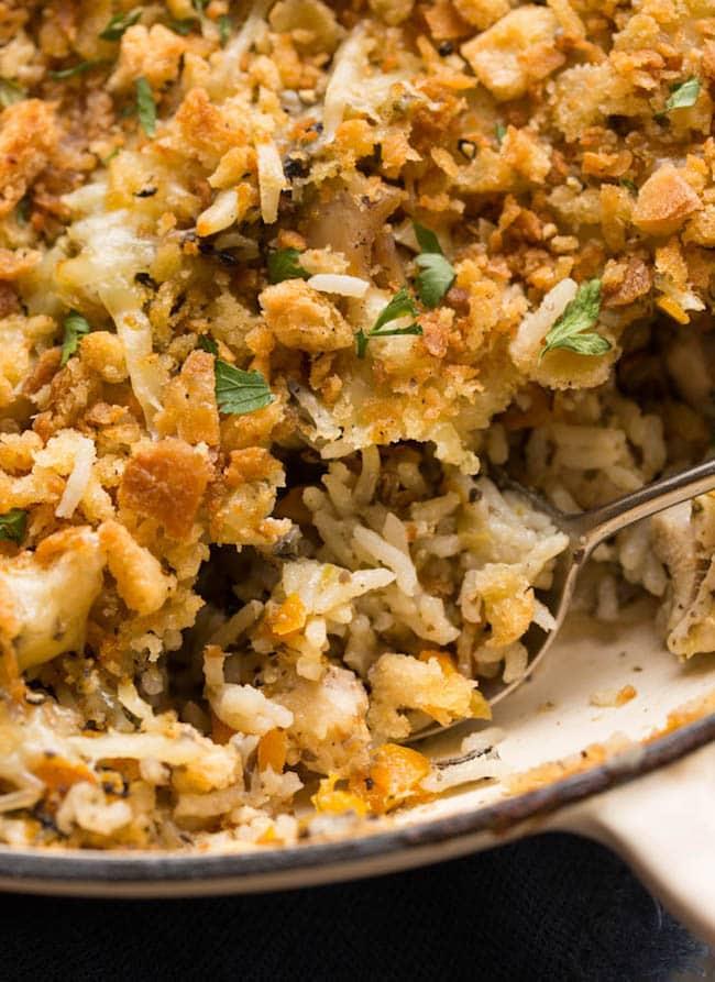 chicken-wild-rice-casserole up close