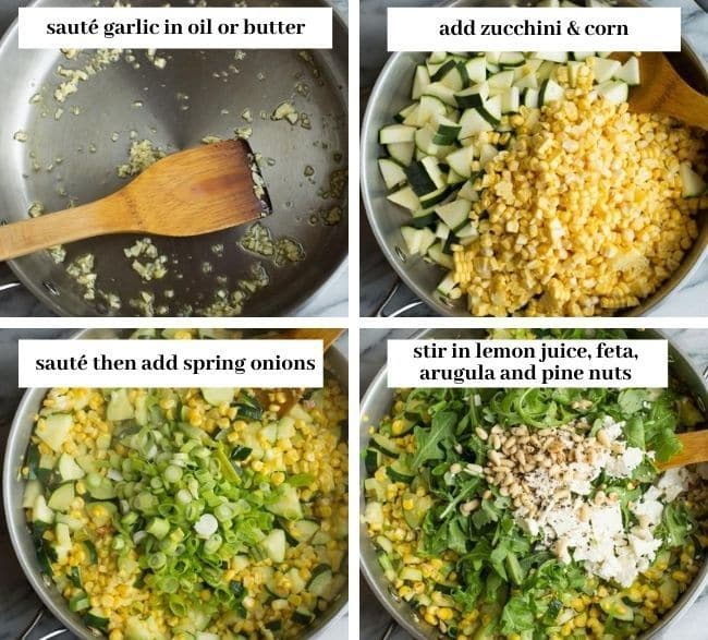 Sautéed Corn & Courgette Salad cooking collage