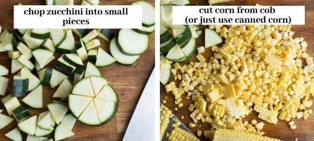 Sautéed Corn & Courgette Salad - veggie prep collage
