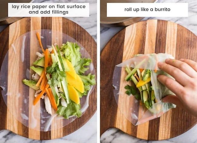 summer roll collage - how to roll