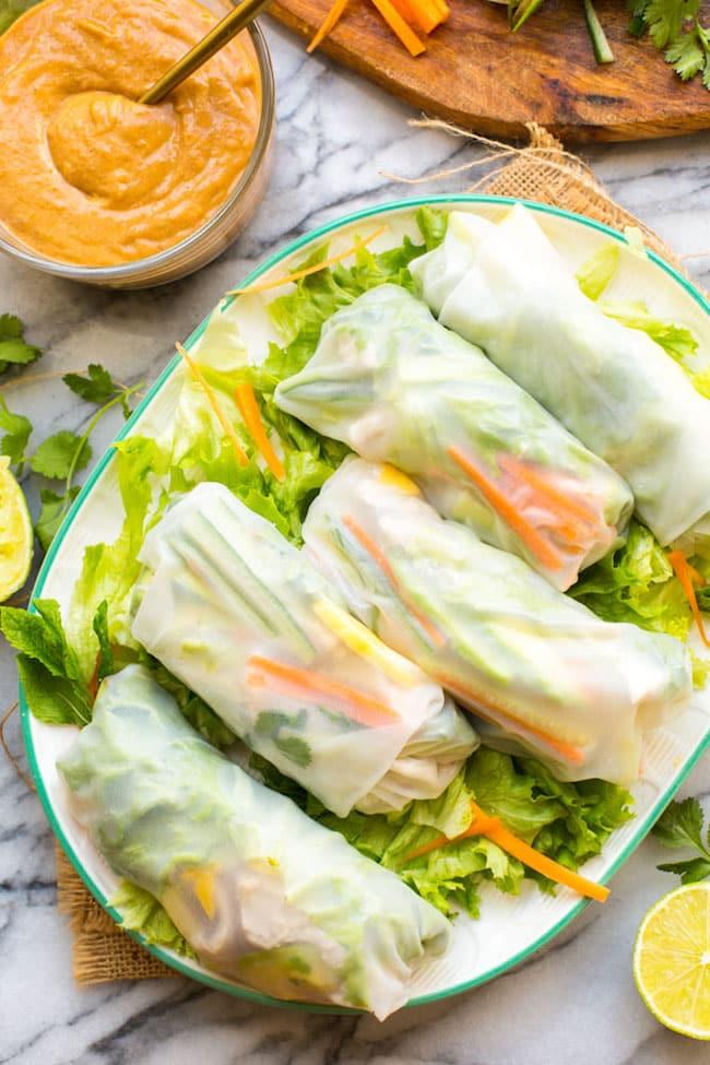 mango summer rolls on a platter