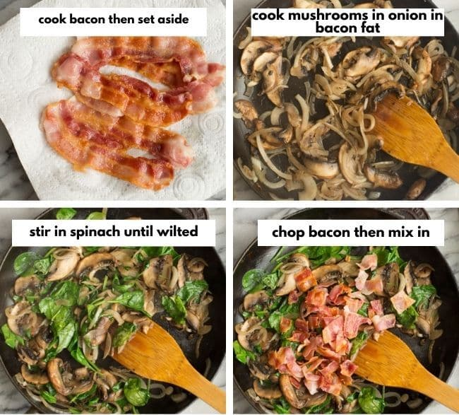 Bacon & Mushroom Crustless Quiche veggie collage