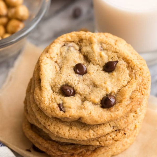 Chocolate-Chip-Hazelnut-Cookies in a stack
