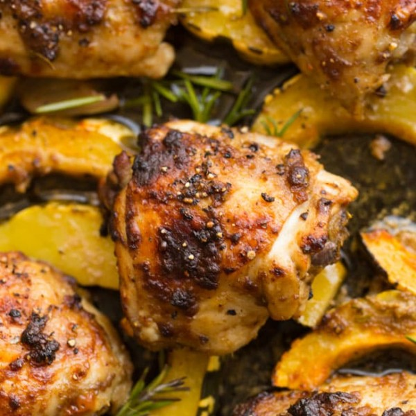 Roasted Balsamic Rosemary Chicken & Squash up close