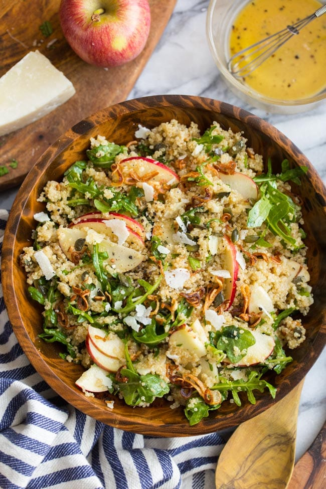 Honey Mustard Quinoa Apple Salad with Crispy Shallots