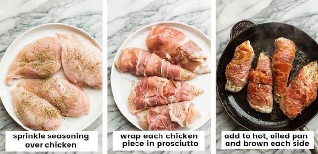 prosciutto-wrapped-chicken-prep collage