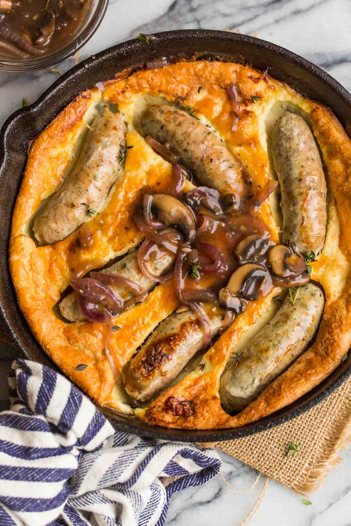 Paleo Toad in the Hole with a Mushroom Onion Gravy