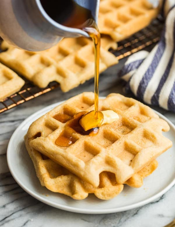 Almond Flour Waffles with syrup