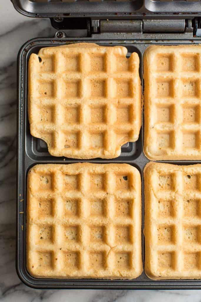 Almond Flour Waffles in a waffle iron
