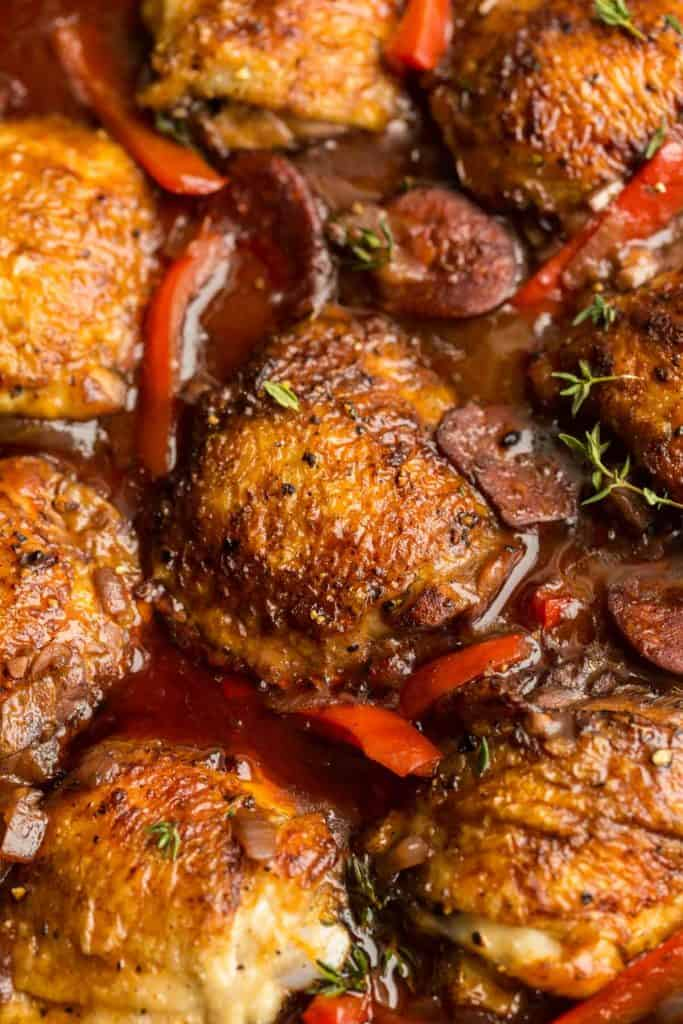 Spanish Chicken and Chorizo  up close topped with thyme